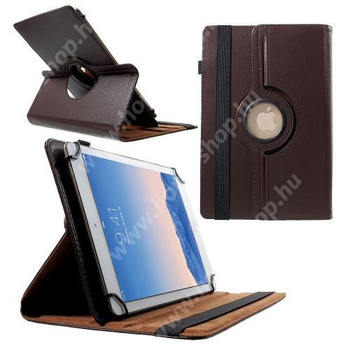 """UNIVERZÁLIS notesz / mappa tok - álló, oldalra nyíló, gumis záródás, asztali tartó funkcióval, 360°-ban elforgatható - BARNA - 9-10"""" méretű készülékekhez, 24-26cm x 16-18,5cm-ig"""