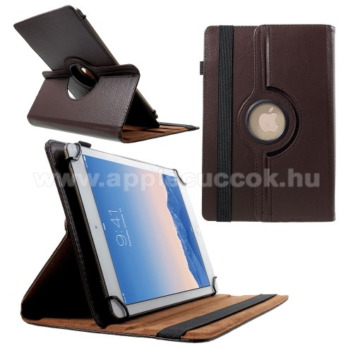 APPLE iPad Pro 9.7 (2016)UNIVERZÁLIS notesz / mappa tok - álló, oldalra nyíló, gumis záródás, asztali tartó funkcióval, 360°-ban elforgatható - BARNA - 9-10