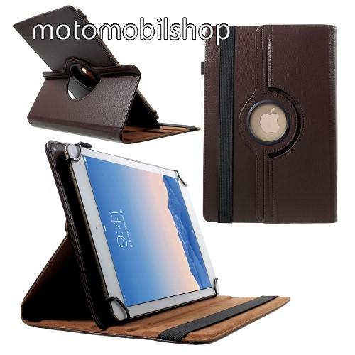 """MOTOROLA Xoom 2 (MZ616) UNIVERZÁLIS notesz / mappa tok - álló, oldalra nyíló, gumis záródás, asztali tartó funkcióval, 360°-ban elforgatható - BARNA - 9-10"""" méretű készülékekhez, 24-26cm x 16-18,5cm-ig"""