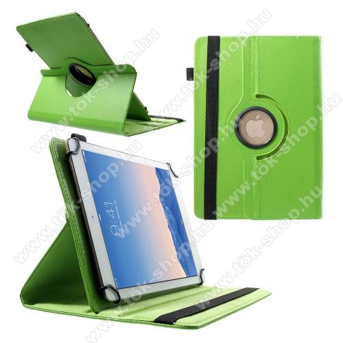 SAMSUNG SM-T547 Galaxy Tab Active Pro (LTE)UNIVERZÁLIS notesz / mappa tok - álló, oldalra nyíló, gumis záródás, asztali tartó funkcióval, 360°-ban elforgatható - ZÖLD - 9-10