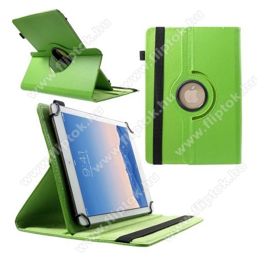 LG G Pad 5 10.1UNIVERZÁLIS notesz / mappa tok - álló, oldalra nyíló, gumis záródás, asztali tartó funkcióval, 360°-ban elforgatható - ZÖLD - 9-10