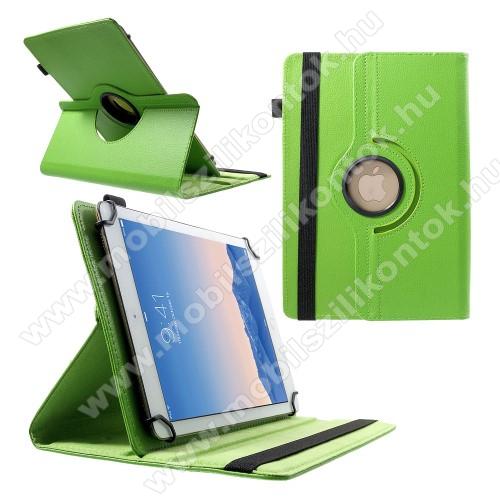 UNIVERZÁLIS notesz / mappa tok - álló, oldalra nyíló, gumis záródás, asztali tartó funkcióval, 360°-ban elforgatható - ZÖLD - 9-10