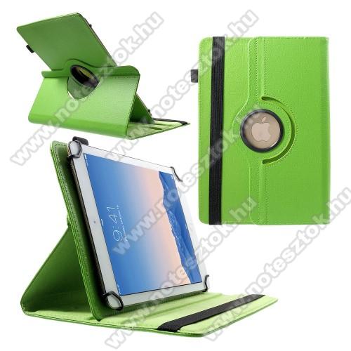 SAMSUNG SM-T545 Galaxy Tab Active Pro (Wi-Fi)UNIVERZÁLIS notesz / mappa tok - álló, oldalra nyíló, gumis záródás, asztali tartó funkcióval, 360°-ban elforgatható - ZÖLD - 9-10
