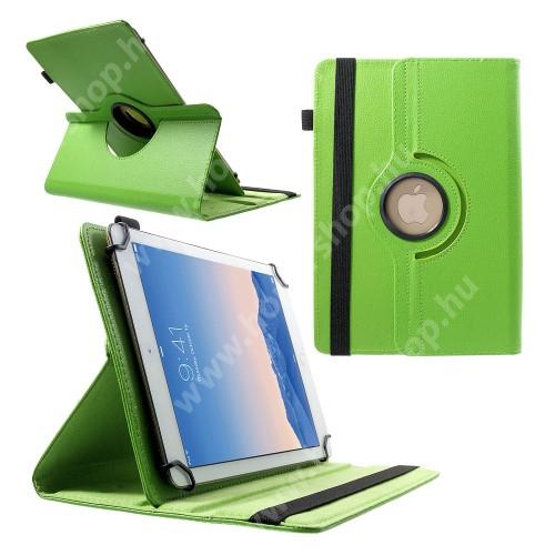 """UNIVERZÁLIS notesz / mappa tok - álló, oldalra nyíló, gumis záródás, asztali tartó funkcióval, 360°-ban elforgatható - ZÖLD - 9-10"""" méretű készülékekhez, 24-26cm x 16-18,5cm-ig"""