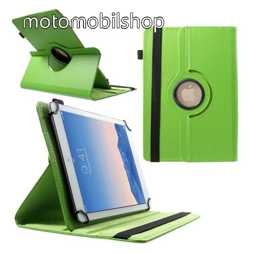 """MOTOROLA Xoom 2 (MZ616) UNIVERZÁLIS notesz / mappa tok - álló, oldalra nyíló, gumis záródás, asztali tartó funkcióval, 360°-ban elforgatható - ZÖLD - 9-10"""" méretű készülékekhez, 24-26cm x 16-18,5cm-ig"""