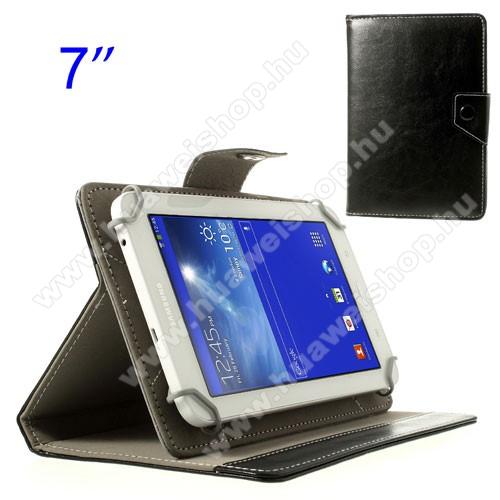 Huawei Mediapad 7 LiteUNIVERZÁLIS notesz / mappa tok - FEKETE - álló, bőr, mágneses, kitámasztóval, asztali tartó funkciós, 7