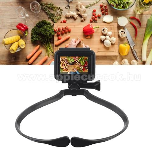 APPLE iPhone XrUNIVERZÁLIS nyakba akasztható tartó - 360°-ban forgatható, állítható, asztali tartó, 55-82mm-ig nyiló bölcső, 180 mm x 140mm- FEKETE