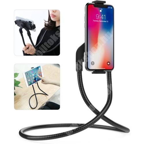 """Elephone P9 Water UNIVERZÁLIS nyakba akasztható tartó / asztali tartó állvány - 360°-ban forgatható, állítható, asztali tartó - 4-10.5""""-os készülékhez - FEKETE"""