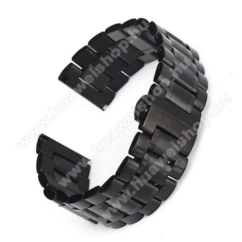 HUAWEI TalkBand B3UNIVERZÁLIS Okos / hagyományos óraszíj - FEKETE - rozsdamentes acél, csatos, 180mm hosszú, 16mm széles, 160mm-től 210mm-es méretű csuklóig ajánlott, TELESZKÓP NÉLKÜL!
