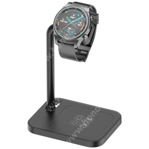 HUAWEI Honor Watch GS Pro UNIVERZÁLIS okosóra töltő / asztali tartó állvány - kábelelvezető, csúszásgátló, 45°-os szög, forgatható, 13-40mm-ig nyíló töltő befogadó keret, a töltő NEM TARTOZÉK! - FEKETE