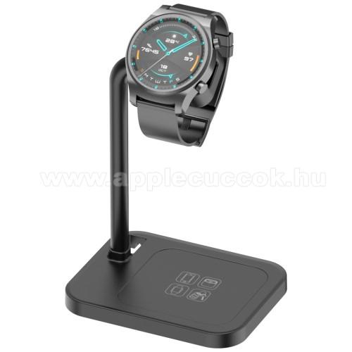 APPLE Watch Series 4 44mmUNIVERZÁLIS okosóra töltő / asztali tartó állvány - kábelelvezető, csúszásgátló, 45°-os szög, forgatható, 13-40mm-ig nyíló töltő befogadó keret, a töltő NEM TARTOZÉK! - FEKETE