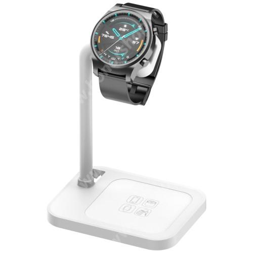 HUAWEI Honor Watch GS Pro UNIVERZÁLIS okosóra töltő / asztali tartó állvány - kábelelvezető, csúszásgátló, 45°-os szög, forgatható, 13-40mm-ig nyíló töltő befogadó keret, a töltő NEM TARTOZÉK! - FEHÉR