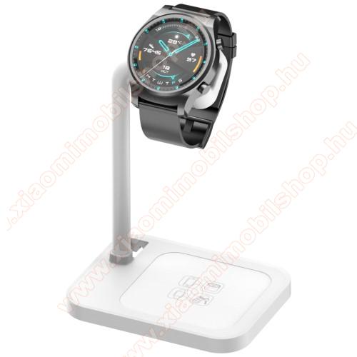 Xiaomi Amazfit Smartwatch 2UNIVERZÁLIS okosóra töltő / asztali tartó állvány - kábelelvezető, csúszásgátló, 45°-os szög, forgatható, 13-40mm-ig nyíló töltő befogadó keret, a töltő NEM TARTOZÉK! - FEHÉR