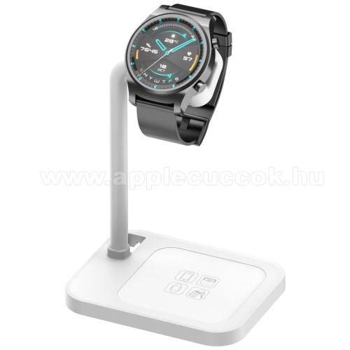 APPLE Watch Series 6 44mmUNIVERZÁLIS okosóra töltő / asztali tartó állvány - kábelelvezető, csúszásgátló, 45°-os szög, forgatható, 13-40mm-ig nyíló töltő befogadó keret, a töltő NEM TARTOZÉK! - FEHÉR