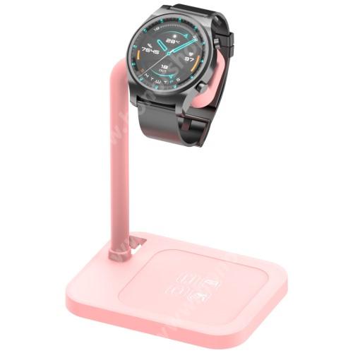 HUAWEI Honor Watch GS Pro UNIVERZÁLIS okosóra töltő / asztali tartó állvány - kábelelvezető, csúszásgátló, 45°-os szög, forgatható, 13-40mm-ig nyíló töltő befogadó keret, a töltő NEM TARTOZÉK! - RÓZSASZÍN