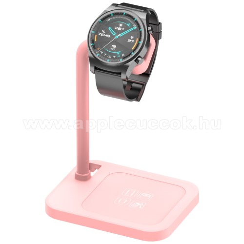 APPLE Watch Series 6 44mmUNIVERZÁLIS okosóra töltő / asztali tartó állvány - kábelelvezető, csúszásgátló, 45°-os szög, forgatható, 13-40mm-ig nyíló töltő befogadó keret, a töltő NEM TARTOZÉK! - RÓZSASZÍN