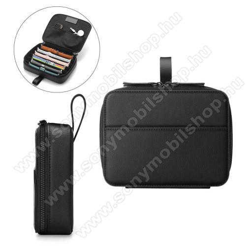 UNIVERZÁLIS óraszíj tároló táska - FEKETE - PU bőr, belső zsebek, kétirányú cipzár, mikroszálas belső, ideális óraszíjak, töltő, okos/hagyományos óra tárolására, hordoztató, méret: 220 x 170 x 50mm