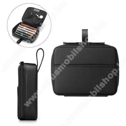 ASUS ZenwatchUNIVERZÁLIS óraszíj tároló táska - FEKETE - PU bőr, belső zsebek, kétirányú cipzár, mikroszálas belső, ideális óraszíjak, töltő, okos/hagyományos óra tárolására, hordoztató, méret: 220 x 170 x 50mm