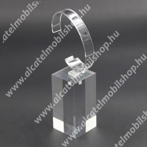 UNIVERZÁLIS Óratartó állvány / asztali tartó - ÁTLÁTSZÓ - műanyag, méret: 6cm x 4cm x 4cm
