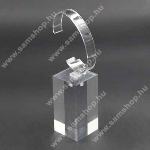 SAMSUNG SM-R380 Gear 2UNIVERZÁLIS Óratartó állvány / asztali tartó - ÁTLÁTSZÓ - műanyag, méret: 6cm x 4cm x 4cm