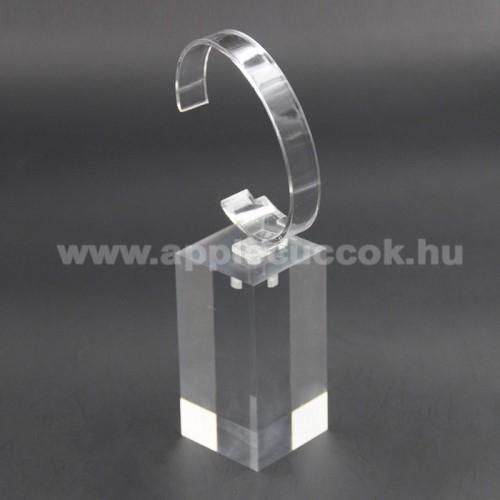 APPLE Watch Series 3 38mmUNIVERZÁLIS Óratartó állvány / asztali tartó - ÁTLÁTSZÓ - műanyag, méret: 6cm x 4cm x 4cm