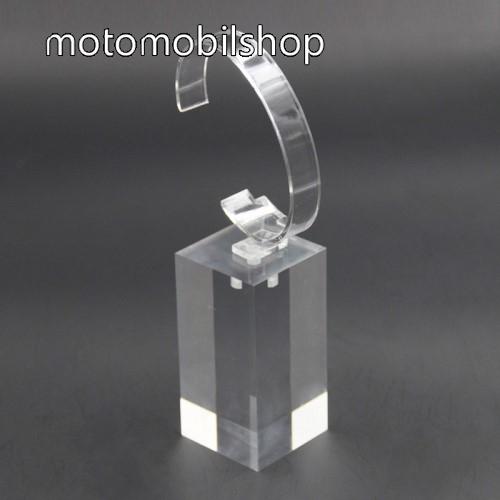 MOTOROLA Xoom 2 Media Edition (MZ608) UNIVERZÁLIS Óratartó állvány / asztali tartó - ÁTLÁTSZÓ - műanyag, méret: 6cm x 4cm x 4cm