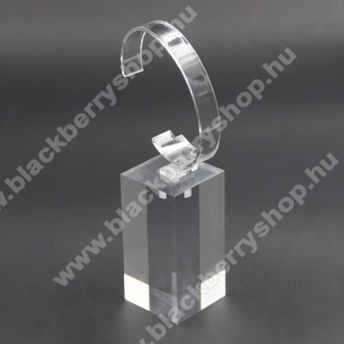 BLACKBERRY 9530 StormUNIVERZÁLIS Óratartó állvány / asztali tartó - ÁTLÁTSZÓ - műanyag, méret: 6cm x 4cm x 4cm