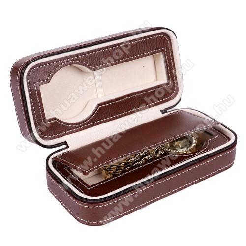 HUAWEI Honor Band 3UNIVERZÁLIS Óratartó doboz - BARNA - PU bőr, cipzár, egyszerre 2db óra tárolására is alkalmas, méret: 180 x 85 x 60mm