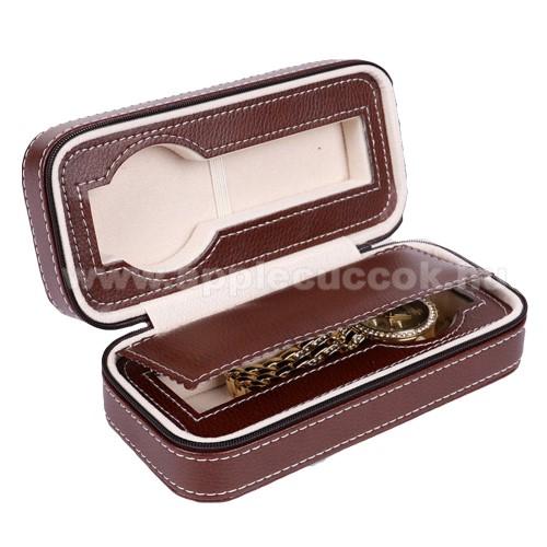 UNIVERZÁLIS Óratartó doboz - BARNA - PU bőr, cipzár, egyszerre 2db óra tárolására is alkalmas, méret: 180 x 85 x 60mm