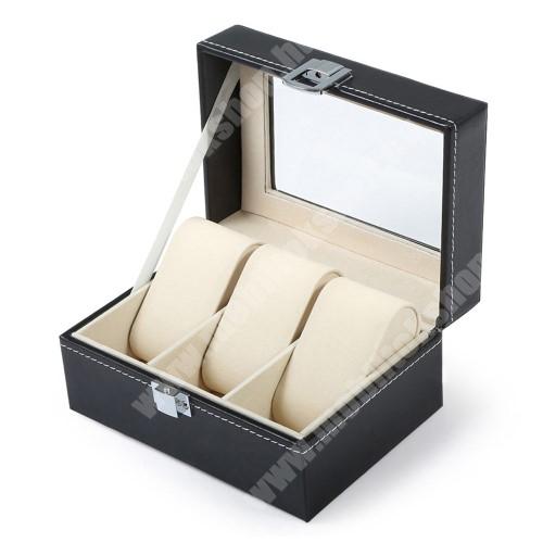 ZTE Blade A520 UNIVERZÁLIS Óratartó doboz / display - FEKETE - PU bőr, egyszerre 3db óra tárolásra is alkalmas, méret: 155 x 112 x 80mm