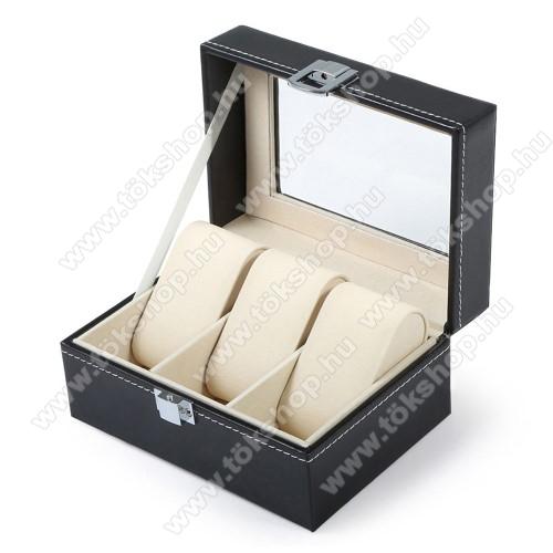 UNIVERZÁLIS Óratartó doboz / display - FEKETE - PU bőr, egyszerre 3db óra tárolásra is alkalmas, méret: 155 x 112 x 80mm
