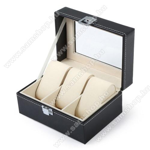 SAMSUNG SM-R381 Gear 2 NeoUNIVERZÁLIS Óratartó doboz / display - FEKETE - PU bőr, egyszerre 3db óra tárolásra is alkalmas, méret: 155 x 112 x 80mm