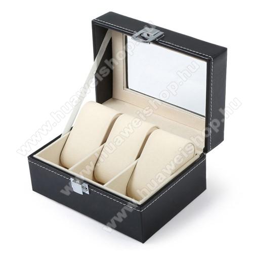 HUAWEI Honor Band 3UNIVERZÁLIS Óratartó doboz / display - FEKETE - PU bőr, egyszerre 3db óra tárolásra is alkalmas, méret: 155 x 112 x 80mm
