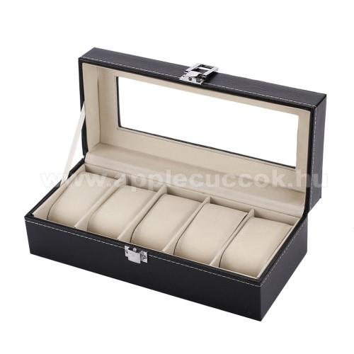 UNIVERZÁLIS Óratartó doboz / display - FEKETE - PU bőr, egyszerre 5db óra tárolásra is alkalmas, méret: 250 x 110 x 80mm