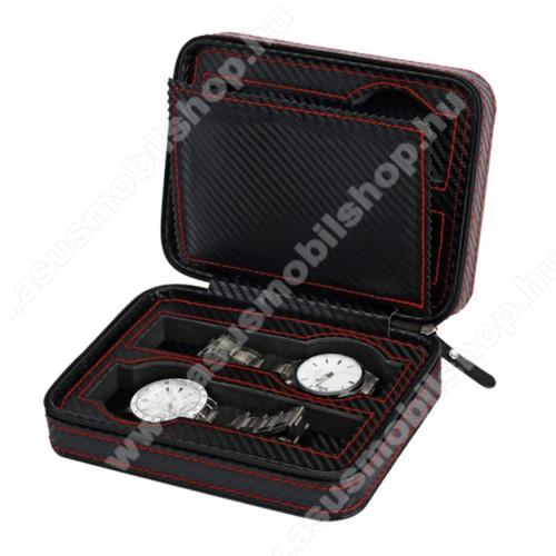 ASUS ZenwatchUNIVERZÁLIS Óratartó doboz - FEKETE - KARBON MINTÁS - PU bőr, cipzár, hordozható, egyszerre 4db óra tárolására is alkalmas, méret: 180 x 140 x 60mm