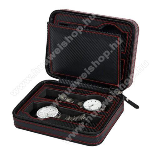 HUAWEI Honor Band 4UNIVERZÁLIS Óratartó doboz - FEKETE - KARBON MINTÁS - PU bőr, cipzár, hordozható, egyszerre 4db óra tárolására is alkalmas, méret: 180 x 140 x 60mm
