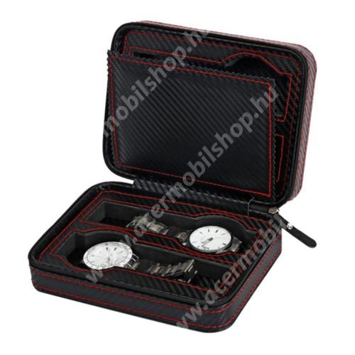 ACER Iconia Tab A1-811 UNIVERZÁLIS Óratartó doboz - FEKETE - KARBON MINTÁS - PU bőr, cipzár, hordozható, egyszerre 4db óra tárolására is alkalmas, méret: 180 x 140 x 60mm