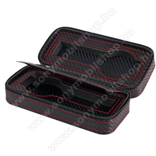 UNIVERZÁLIS Óratartó doboz - FEKETE - KARBON MINTÁS - PU bőr, piros varrás, cipzár, egyszerre 2db óra tárolására is alkalmas, méret: 175 x 85 x 55mm