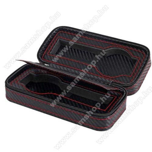 SAMSUNG SM-R381 Gear 2 NeoUNIVERZÁLIS Óratartó doboz - FEKETE - KARBON MINTÁS - PU bőr, piros varrás, cipzár, egyszerre 2db óra tárolására is alkalmas, méret: 175 x 85 x 55mm