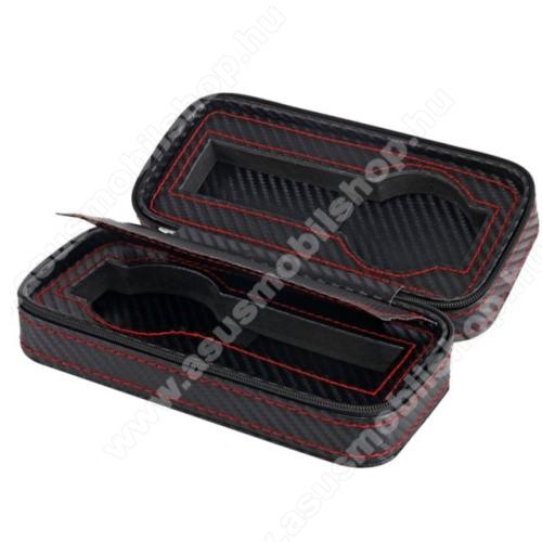 ASUS ZenwatchUNIVERZÁLIS Óratartó doboz - FEKETE - KARBON MINTÁS - PU bőr, piros varrás, cipzár, egyszerre 2db óra tárolására is alkalmas, méret: 175 x 85 x 55mm
