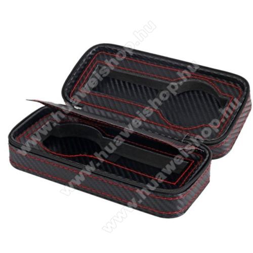 HUAWEI Honor Band 3UNIVERZÁLIS Óratartó doboz - FEKETE - KARBON MINTÁS - PU bőr, piros varrás, cipzár, egyszerre 2db óra tárolására is alkalmas, méret: 175 x 85 x 55mm