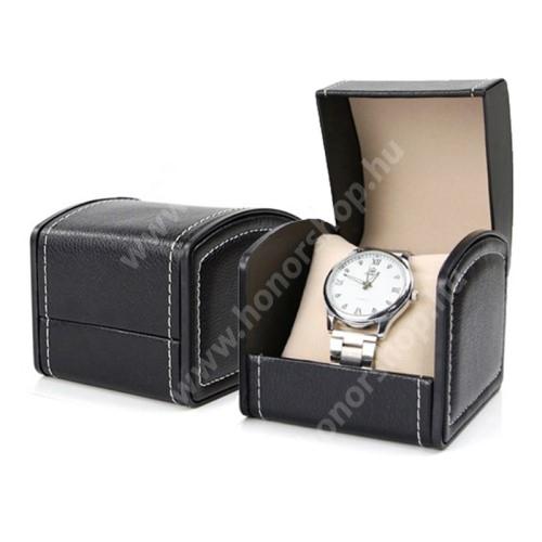 HUAWEI Watch GT 2 Pro 46mm UNIVERZÁLIS Óratartó doboz - FEKETE -  PU bőr, méret: 8cm x 9cm x 10cm
