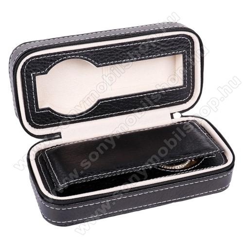UNIVERZÁLIS Óratartó doboz - FEKETE - PU bőr, cipzár, egyszerre 2db óra tárolására is alkalmas, méret: 180 x 85 x 60mm