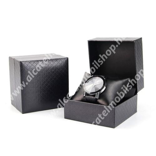 UNIVERZÁLIS Óratartó doboz - FEKETE - PU bőr, 1 óra tárolására alkalmas
