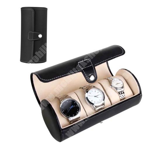 ZTE Blade A520 UNIVERZÁLIS Óratartó / tároló doboz - FEKETE -  PU bőr, 3 óra tárolására alkalamas, patent záródás, méret: 19.5cm x 9cm