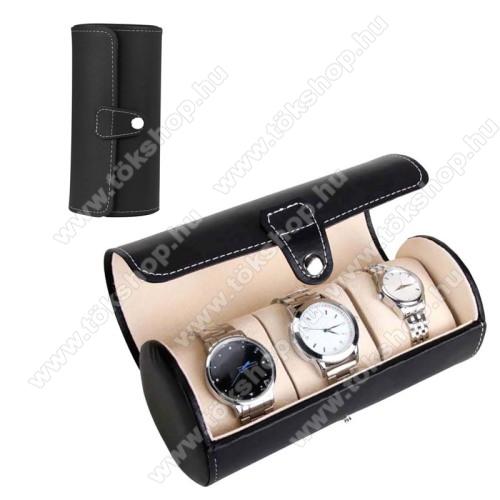 UNIVERZÁLIS Óratartó / tároló doboz - FEKETE -  PU bőr, 3 óra tárolására alkalmas, patent záródás, méret: 19.5cm x 9cm