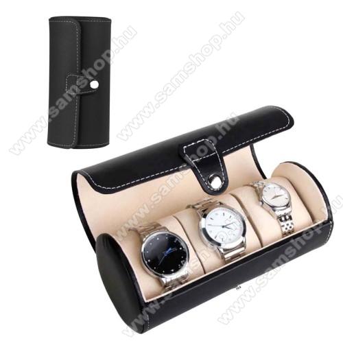 SAMSUNG SM-R381 Gear 2 NeoUNIVERZÁLIS Óratartó / tároló doboz - FEKETE -  PU bőr, 3 óra tárolására alkalmas, patent záródás, méret: 19.5cm x 9cm