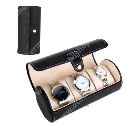 ACER Iconia Tab A1-811 UNIVERZÁLIS Óratartó / tároló doboz - FEKETE -  PU bőr, 3 óra tárolására alkalamas, patent záródás, méret: 19.5cm x 9cm