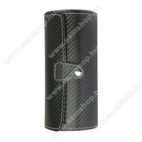 SAMSUNG SM-R381 Gear 2 NeoUNIVERZÁLIS Óratartó / tároló doboz - FEKETE KARBON MITÁS - PU bőr, 3 óra tárolására alkalmas, patent záródás, méret: 19.5cm x 9cm