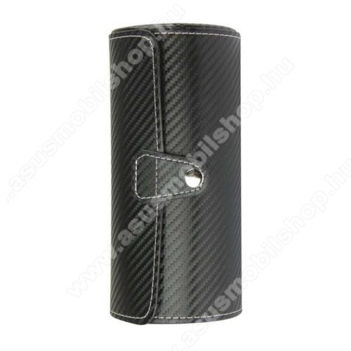 ASUS ZenwatchUNIVERZÁLIS Óratartó / tároló doboz - FEKETE KARBON MITÁS - PU bőr, 3 óra tárolására alkalmas, patent záródás, méret: 19.5cm x 9cm
